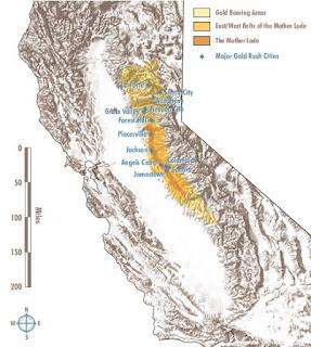 mapa do filão principal de ouro da Califórnia