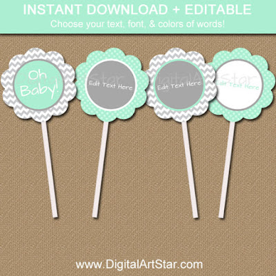 Printable mint & grey baby shower cupcake toppers - instant download baby shower decorations