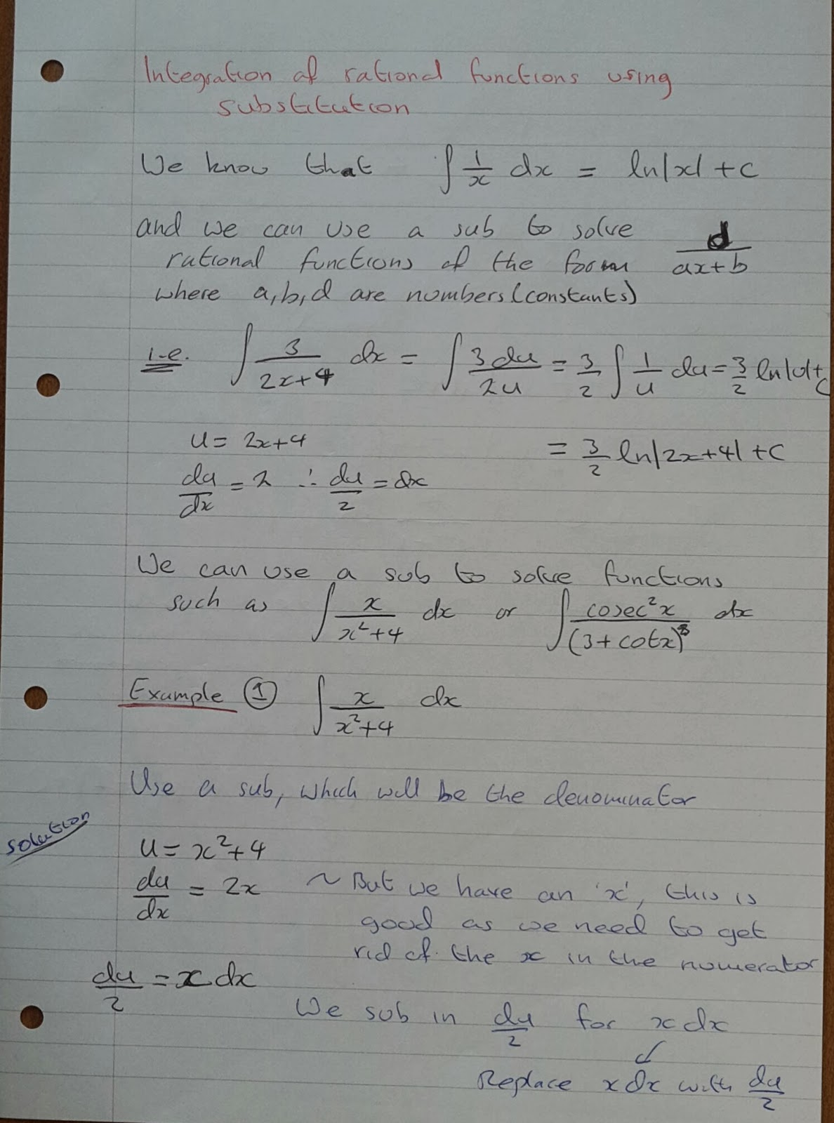 A Level Maths Notes A2 Integration Ii Substitution