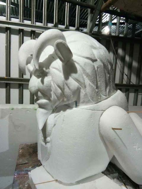 Cara pembuatan patung replika dari styrofoam bentuk karakter tokoh dalam film kartun Animasi Beauty and the beast