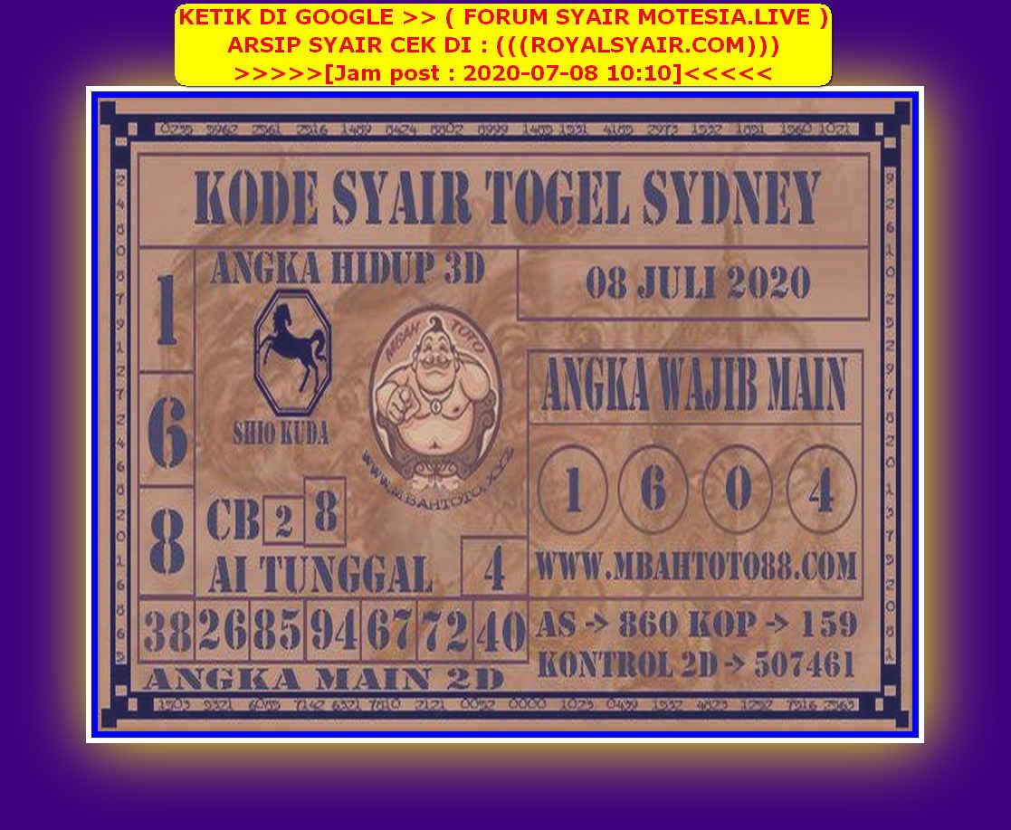 Kode syair Sydney Rabu 8 Juli 2020 97