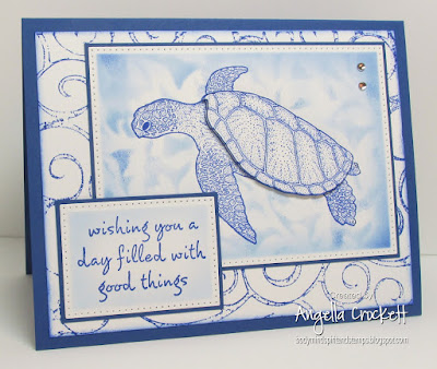 Our Daily Bread designs Pierced Rectangles Dies, Sea Turtle by Gray Wolf Graphics, Sentiment from Hero Arts, Card Designer Angie Crockett