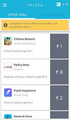 frizza app free recharge