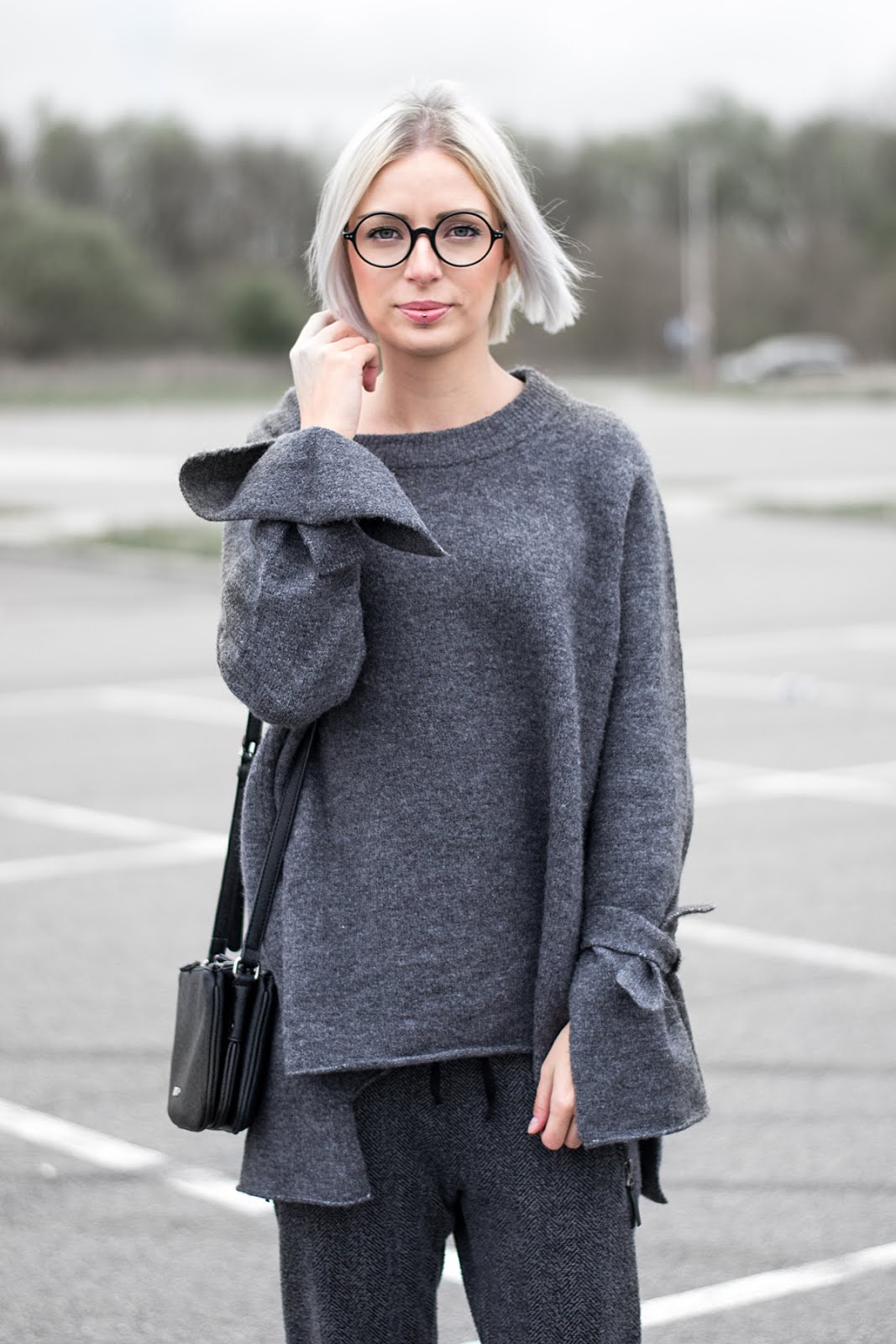 SS17, wool, knitted, outfit, zara, grey, minimal, round glasses, firmoo, liu jo, duifhuizen tassen & koffers