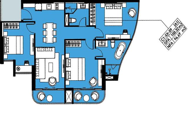 Thiết kế căn 3 phòng ngủ căn hộ Marina Ocean Park Nha Trang