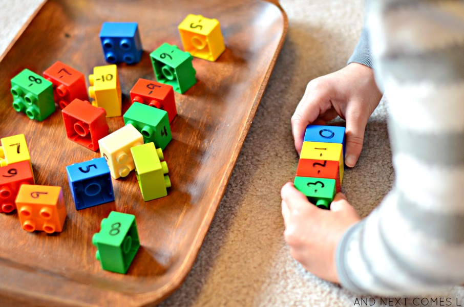 Elementary math for kids using LEGO DUPLO from And Next Comes L