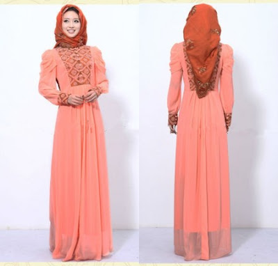 Model Gaun Muslim Pesta Sifon dan Taff Terbaru