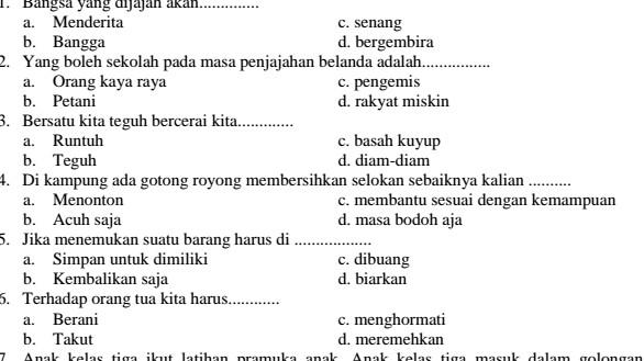 Latihan Soal UTS PKN Kelas 3 SD Semester 1 Ganjil