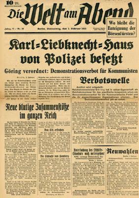 Journal Welt am Abend fevrier 1933