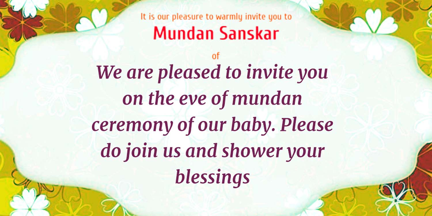 mundan ceremony invitation matter hindu