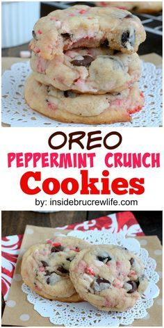 Oreo Peppermint Crunch Cookies #Oreo #Cookies #Peppermint #Crunch #BEstcookies #Dessert #Cookiesrecipe