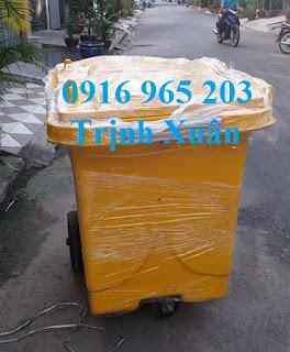 Xe rác 450l 3 bánh đựng rác thải lây nhiễm màu vàng
