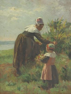 Bretonne et fillette ramassant des fleurs, Emma Herland