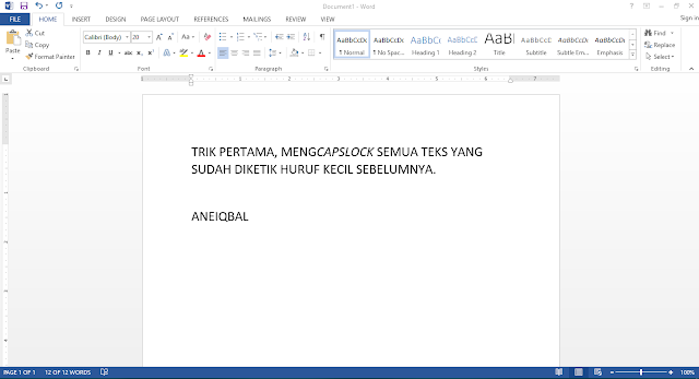 trik ms word