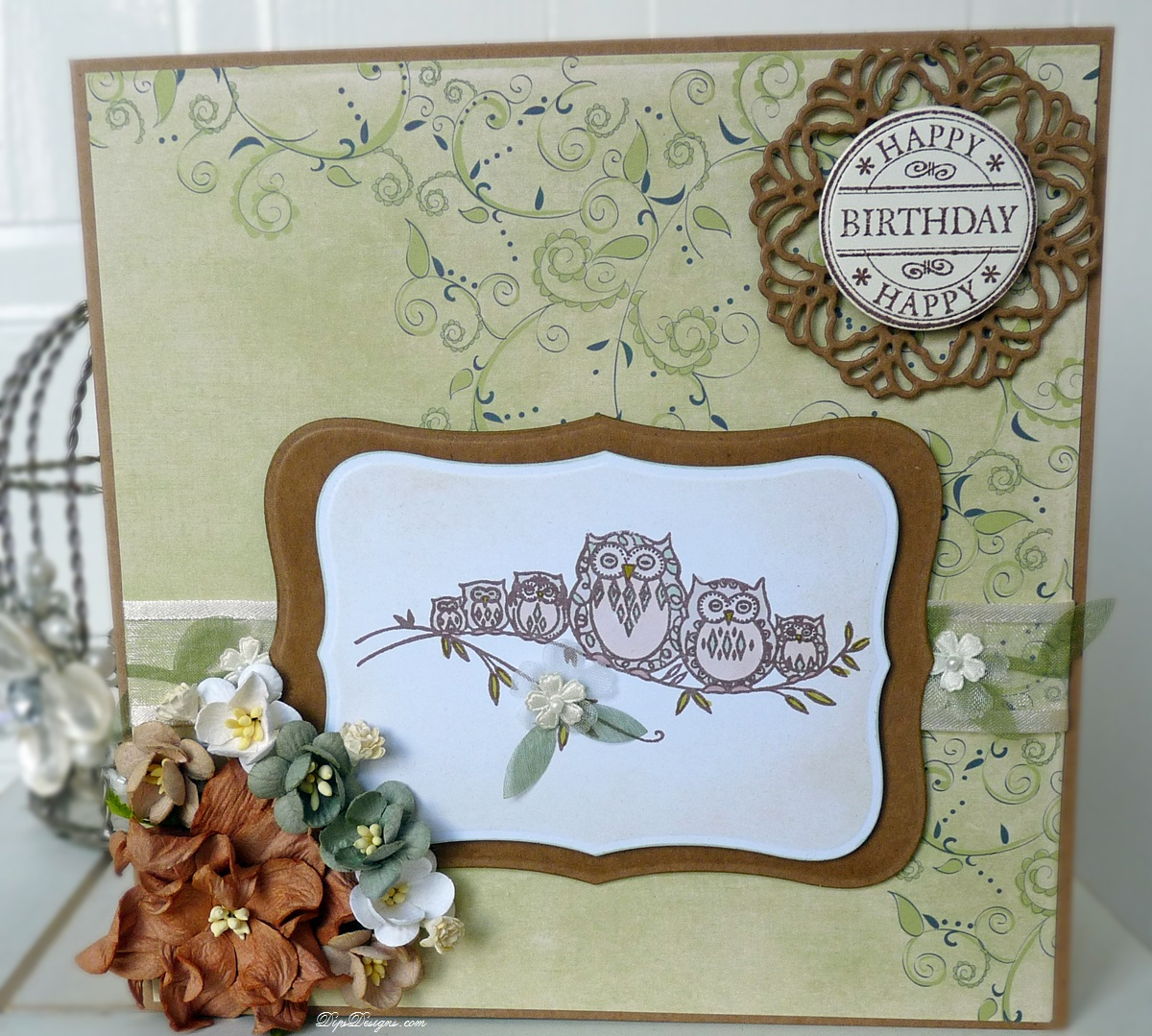 Swirly Whirlies Owl Family & First Edition Spring Feast Card