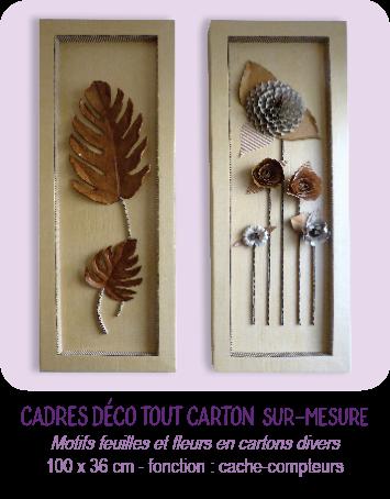 Cadre tableau déco tout carton - motifs feuille et fleurs en carton - par Cartons Dudulle