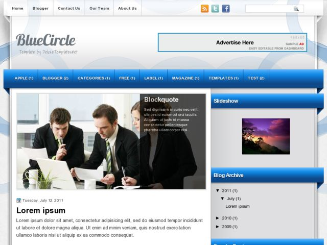 BlueCircle Blogger Template