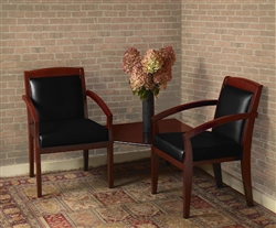 Wood guest chair and table set