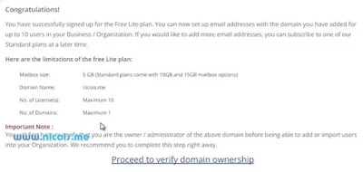 proceed to verify domain ownership