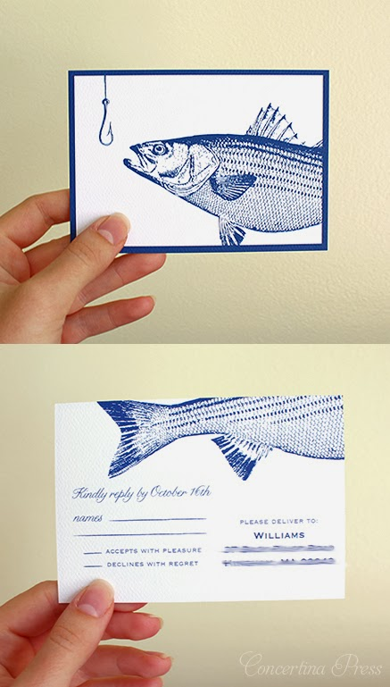 Striped Bass Fishing RSVP postcard by Concertina Press