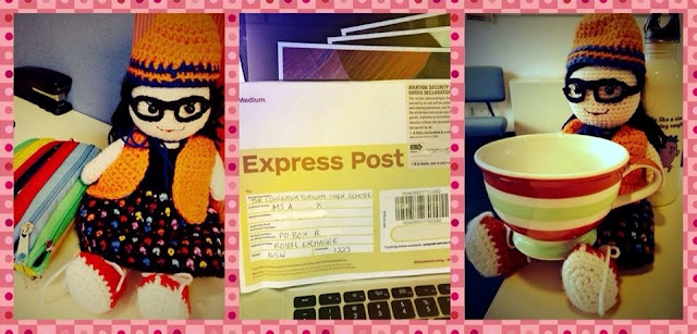 A tryptich from Little Colourful Teacher on receipt of her parcel: 1. Kwokkie Doll sitting on the desk wearing an orange vest and orange beanie together with black top, dotty skirt and red/white sneakers. To her left is a black stapler and colourful stripey pencil case made of zippers. 2. The envelope addressed to Ms A.K. 3. Kwokkie Doll in Harmony Day clothes with a red, white and green striped teacup on her lap.
