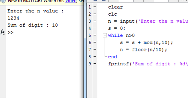 Write a MATLAB program for Sum of Digits using while loop