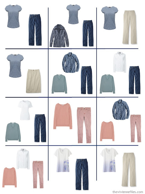 12 outfits taken from a 4 by 4 Wardrobe of denim, khaki and pastels