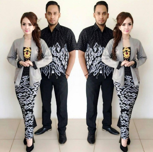 Batik Kerja Couple Terbaru: 30+ Model Baju Kebaya Batik Couple Modern Terbaru