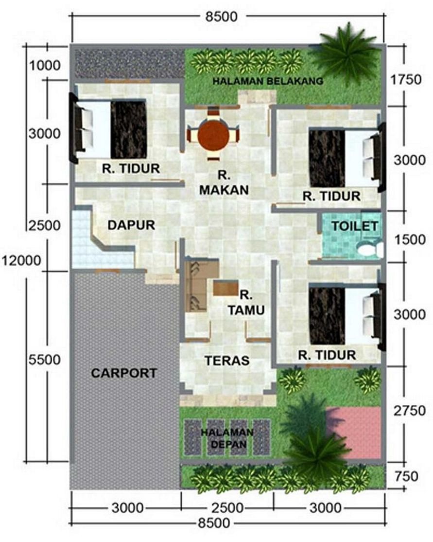 Gambar Denah Rumah 8x12 Kamar 3 Desain Rumah Minimalis