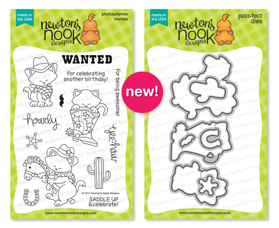 Newton Rides West | Cat Cowboy Western Stamp Set by Newton's Nook Designs #newtonsnook