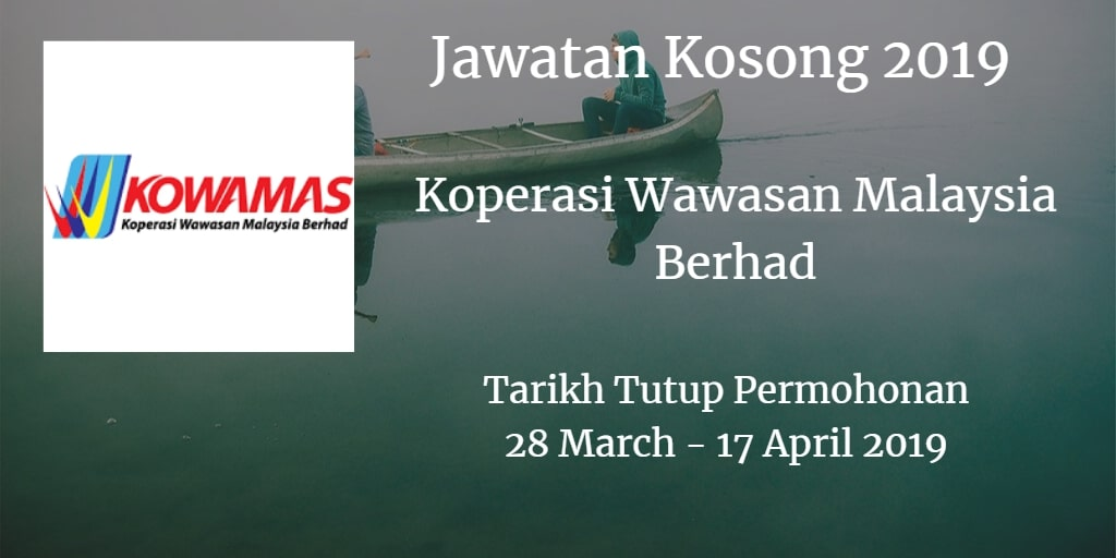Jawatan Kosong KOWAMAS 28 March - 17 April 2019