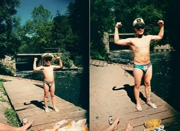 20 Hilarious Before And After Pictures Made By Adults Who Reminisced Their Childhood Years - Still sailing.