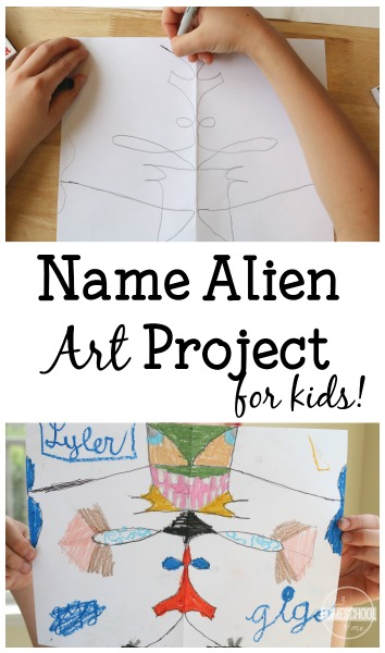 Name Alien Art Project for Kids - this is such a fun way for kids to have fun with a creative craft for kids while practicing cursive at the same time. Perfect for second grade, third grade, and fourth grade students.