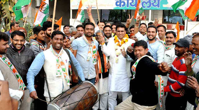 Congress M.L.A Lalit Nagar celebration party victory in tigaon constituency