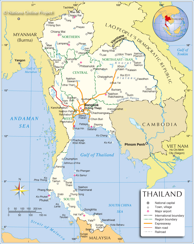 Mapas Geográficos da Tailândia