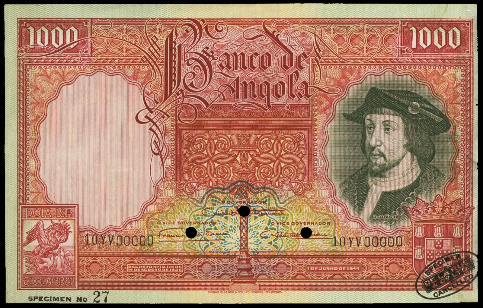 Angola banknotes 1000 Angolares note 1944 King Joao II