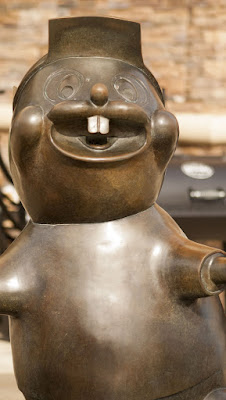 Buc-ee beaver, the mascot of Buc-ee's rest stop and general stop between Houston and Austin Texas on a road trip