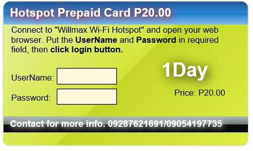 Willmax Wifi Hotspot Rental
