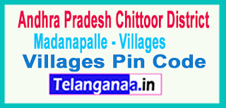 Chittoor District Madanapalle Mandal and Villages Pin Codes in Andhra Pradesh State