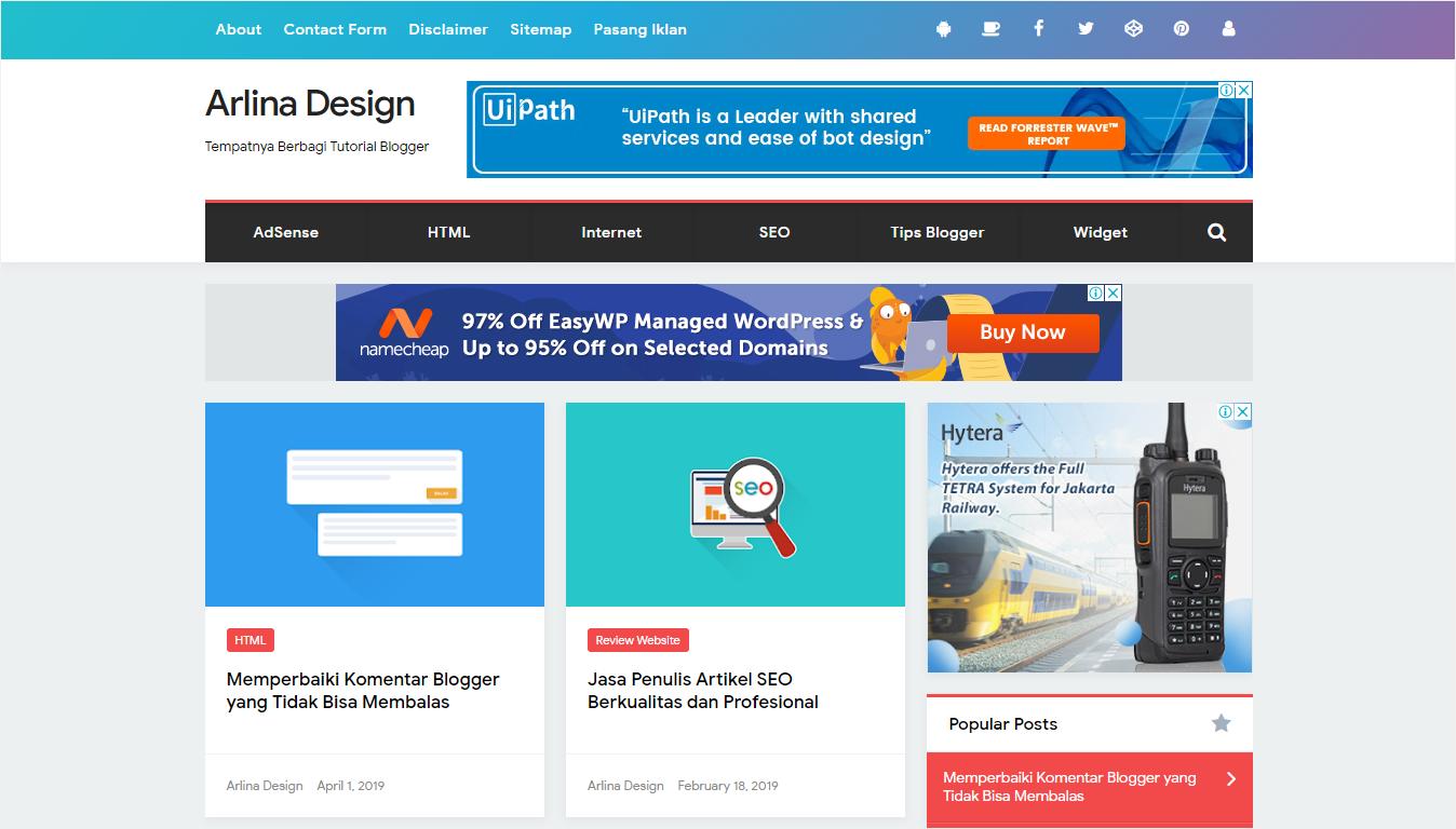Halaman Depan Situs Arlina Design - Nanda Network