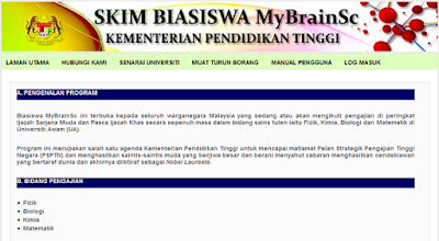 Permohonan Biasiswa MyBrainSc untuk IPTA dan Luar Negara