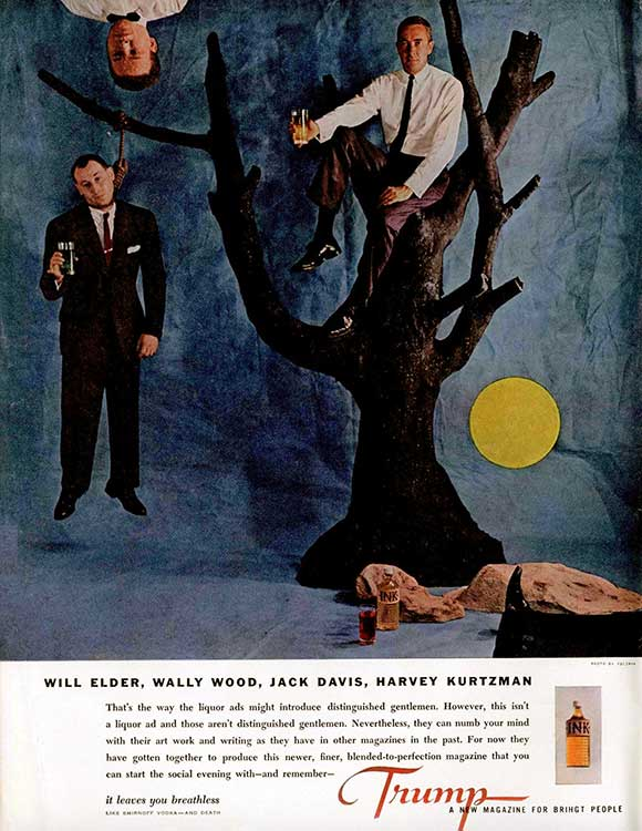 Here's a never-reprinted pic of him (sitting in the tree) from Playboy  Press' Trump #1 (1957)