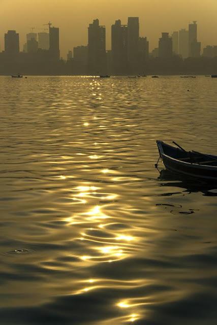 susnrise, reflections, arabian sea, worli, jetty, pier, boat, skyline, dadar, mumbai, india,