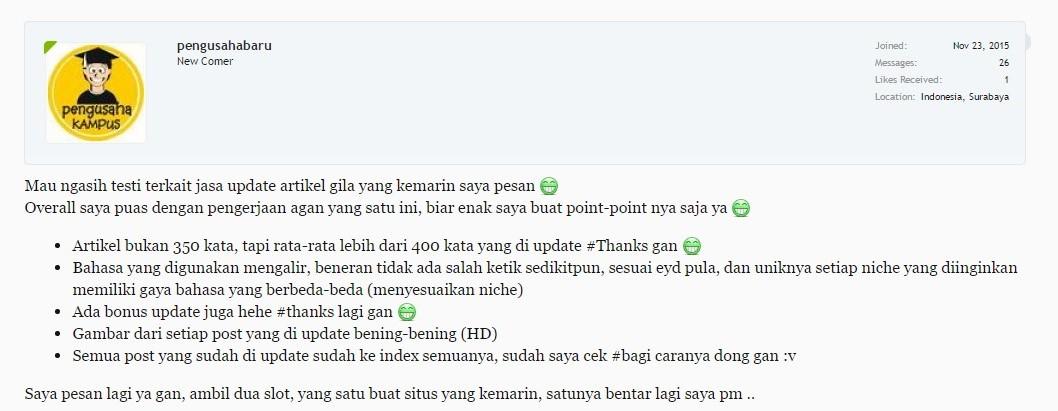 Jasa Penulisan Artikel SEO Indonesia