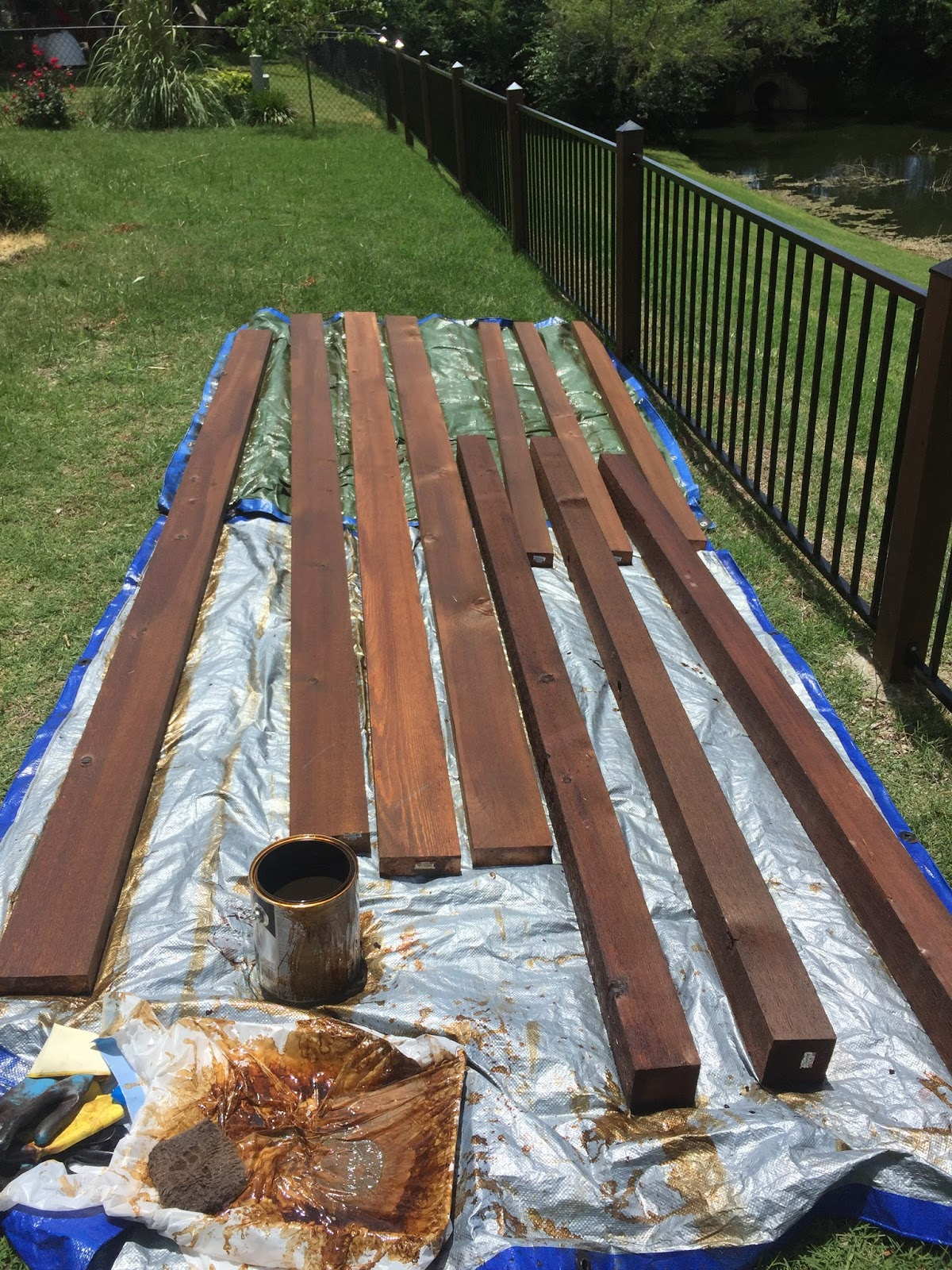 I Started With Staining The Wood Before It Was Put Up Which Highly Recommend Made Things Soooo Much Easier Love Canyon Brown Color By Olympic