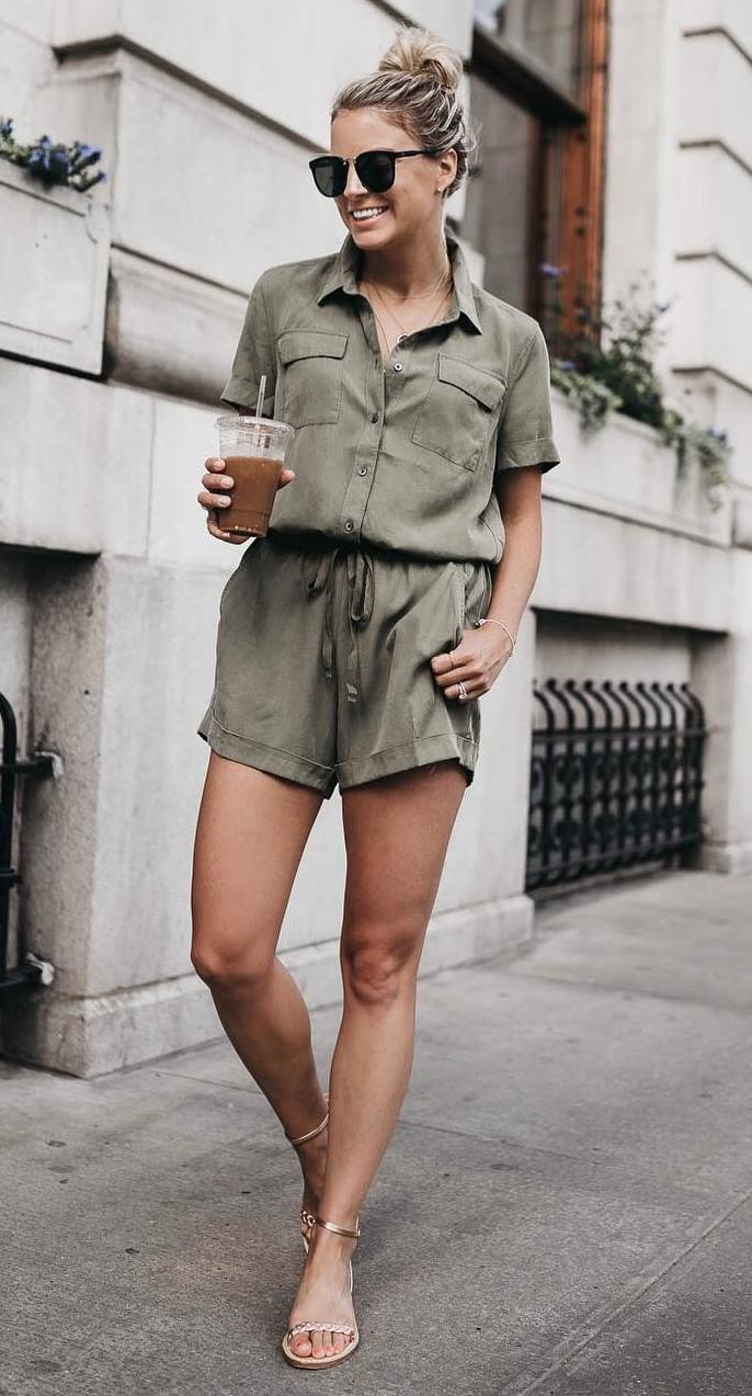 summer casual outfit inspiration / safari jumpsuit and gold sandals