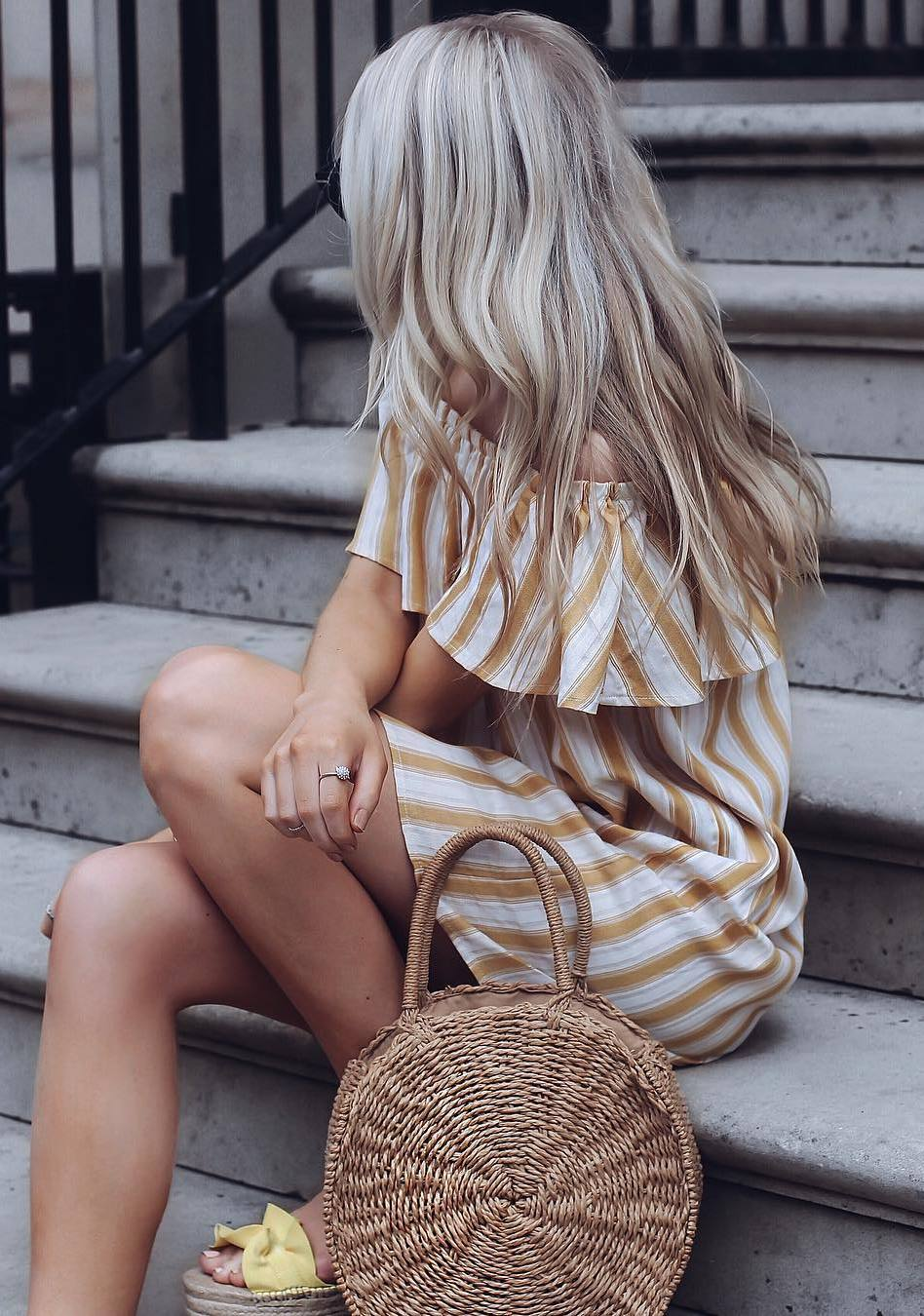 summer outfit / ruffle off shoulder dress +flip-flop + bag