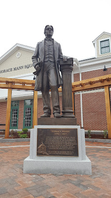 the Horace Mann statue stands to welcome folks to downtown Franklin