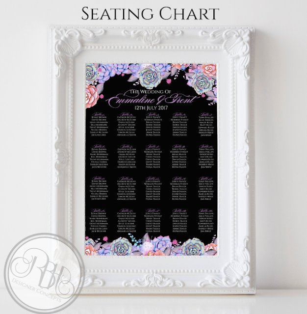 Lilac Purple & Mint Succulent wedding seating chart plan table order