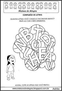 Atividade com letras do alfabeto